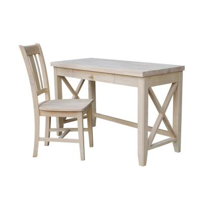 Unfinished Solid Wood 48 in. Hampton Desk with Chair (2-pc Set)