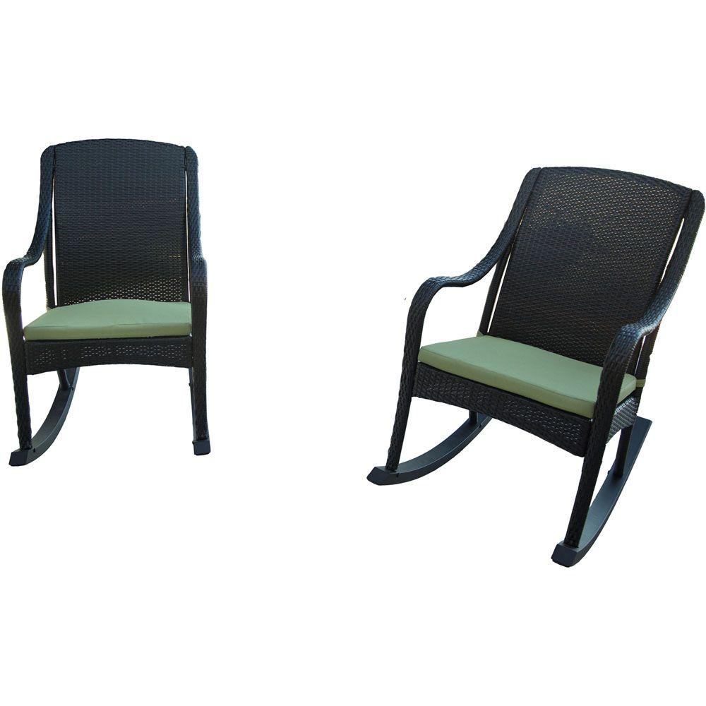 Orleans 4-Piece Rocking Patio Chair Set with Avocado Cushions