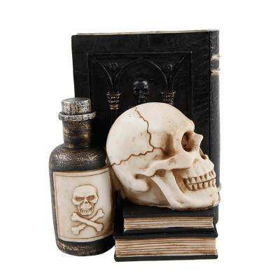 7 in. x 8 in. Halloween Decor Resin Book, Poison with Skull Bookend