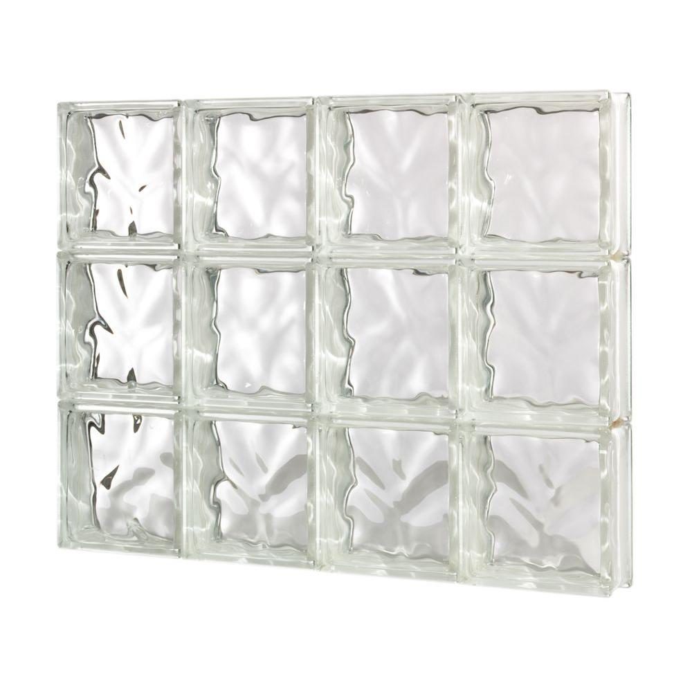 Pittsburgh Corning 34.75 in. x 27.5 in. x 3 in. GuardWise Decora Pattern Solid Glass Block Window