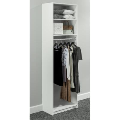 14 in. D x 25.375 in. W x 84 in. H White Medium Hanging Tower Wood Closet System Kit