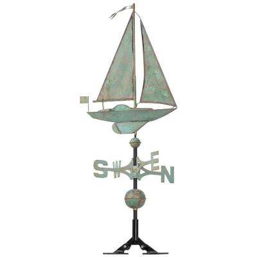 48 in. Verdigris Sailboat Copper Weathervane