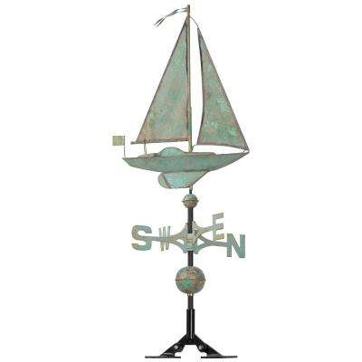 48 in. Verdigris Sailboat Copper Weathervane