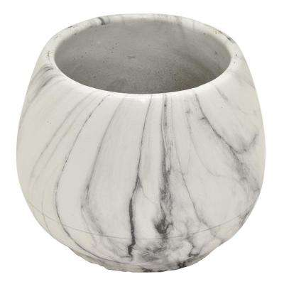 5 in. Flower Pot Marble Look White