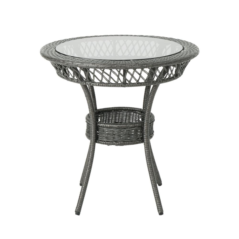 Round Wicker Dining Table: Noble House Figi Gray Round Wicker Outdoor Dining Table