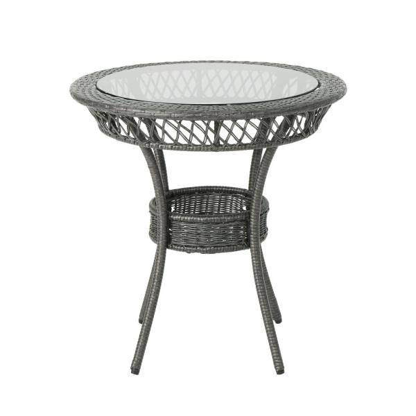 Noble House Figi Gray Round Wicker Outdoor Dining Table With Glass Top 40605 The Home Depot