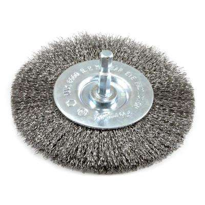 4 in. x 1/4 in. Hex Shank Fine Crimped Wire Wheel Brush