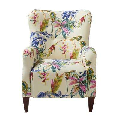 Paradise Purple and Beige Upholstered Arm Chair