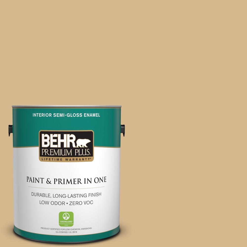 BEHR Premium Plus 1-gal. #BXC-34 Mineral Yellow Semi-Gloss Enamel Interior Paint