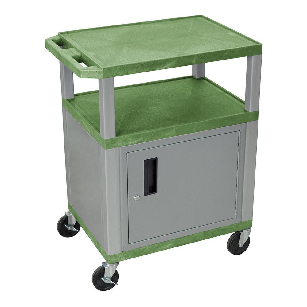 WT 34 in. A/V Cart with Nickel Colored Cabinet in Green