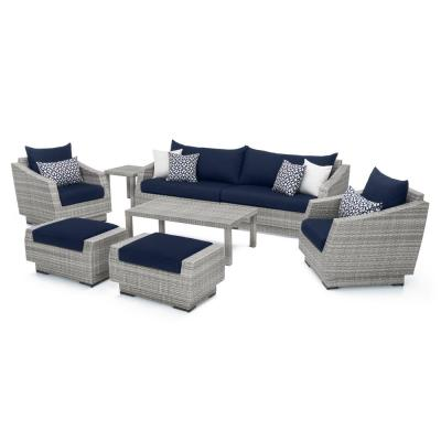 Cannes 8-Piece All-Weather Wicker Patio Sofa and Club Chair Seating Set with Sunbrella Navy Blue Cushions