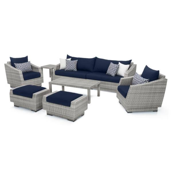 Rst Brands Cannes 8 Piece All Weather Wicker Patio Sofa And Club Chair Seating Set With Sunbrella Navy Blue Cushions Op Pess8 Cns Nvy K The Home Depot