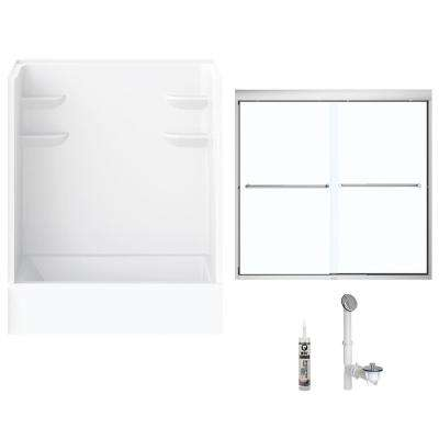 60 in. x 32 in. x 79 in. Bath and Shower Kit with Right-Hand Drain and Door in White and Chrome Hardware