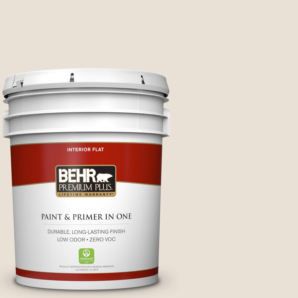 BEHR Premium Plus 5 Gal. #73 Off White Flat Zero VOC Interior Paint And