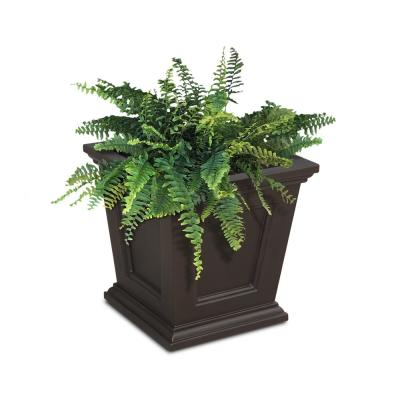16 in. Square Espresso Resin Self-Watering Fairfield Planter