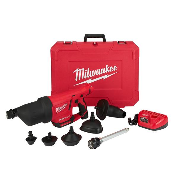 M12 12-Volt Lithium-Ion Cordless Drain Cleaning Airsnake Air Gun Kit with (1) 2.0Ah Battery, Toilet Attachments