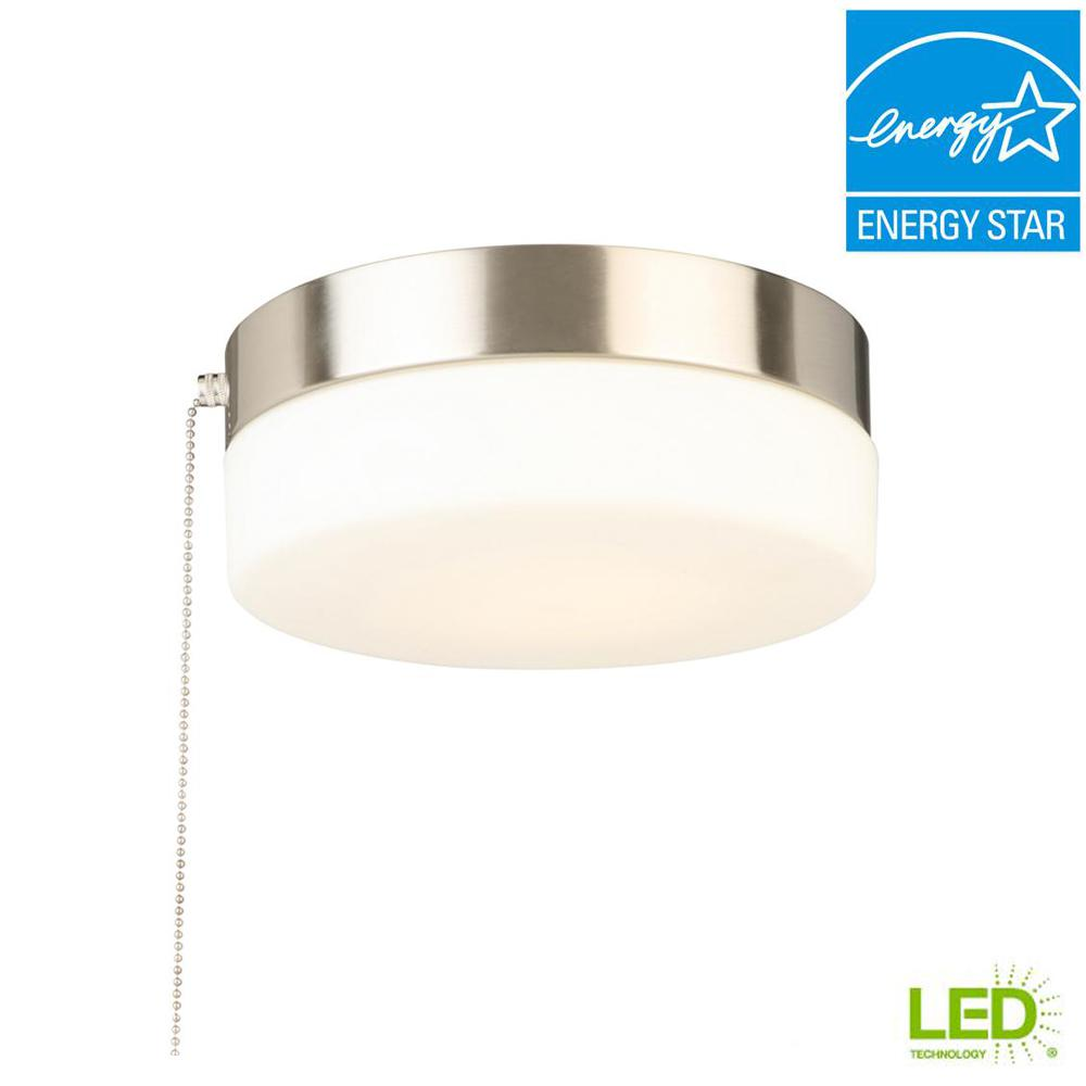 hampton bay 8 in 60 watt equivalent brushed nickel integrated led