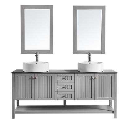 Modena 72 in. W x 20 in. D Vanity in Grey with Glass Vanity Top in Black with White Basin and Mirror