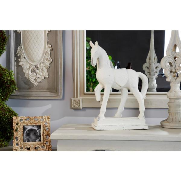 Large Distressed White Horse Sculpture