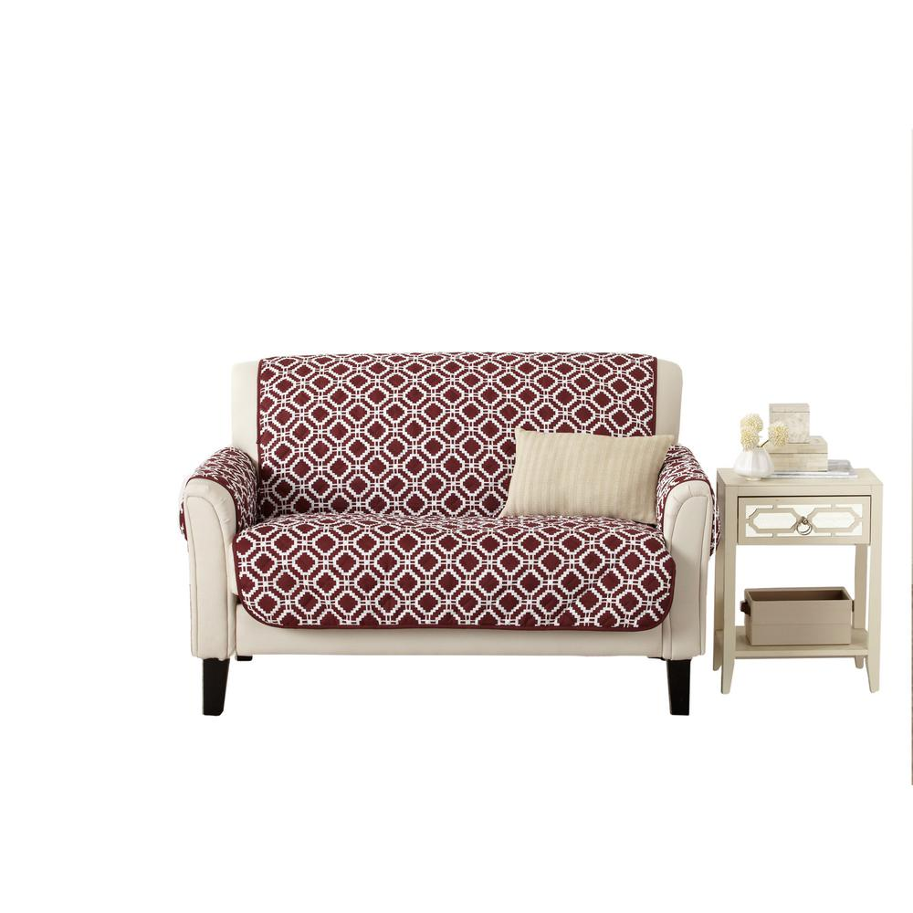 Liliana Collection Oxblood Red Printed Reversible Loveseat Furniture Protector