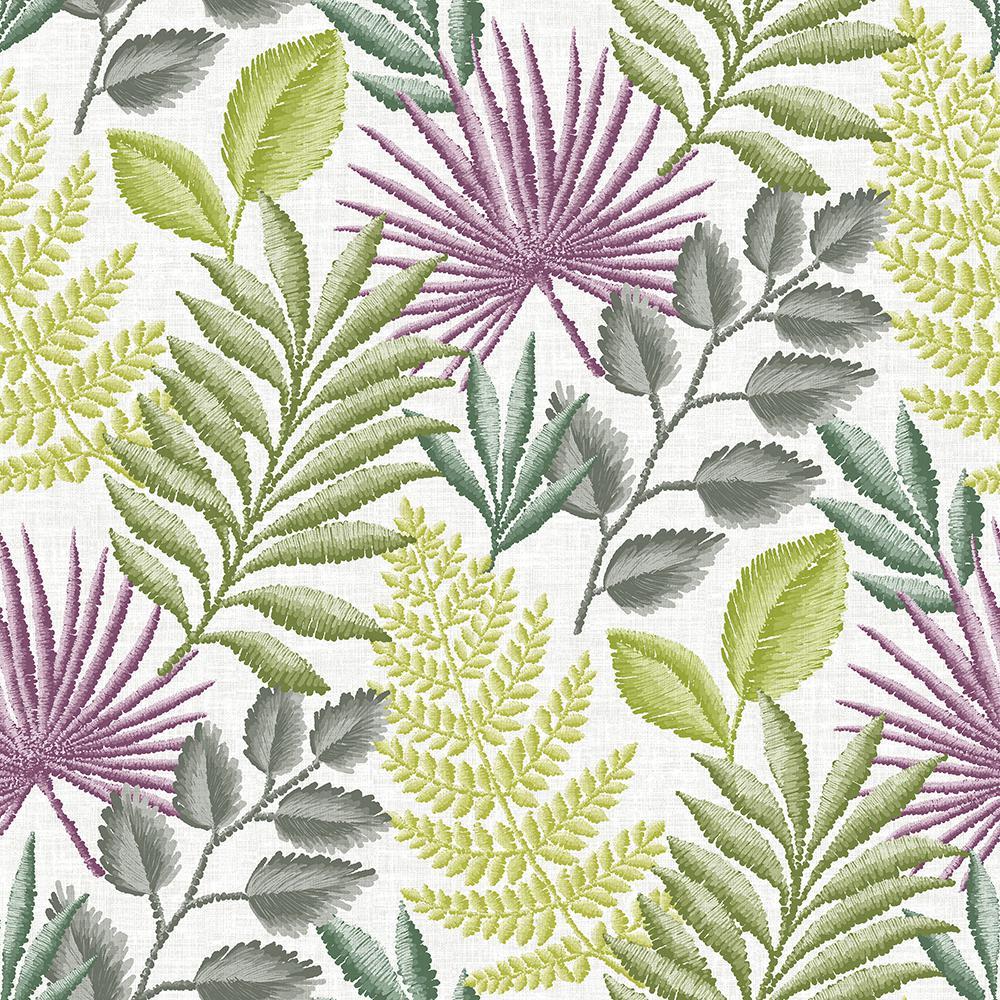 Palomas Green Botanical Green Wallpaper Sample