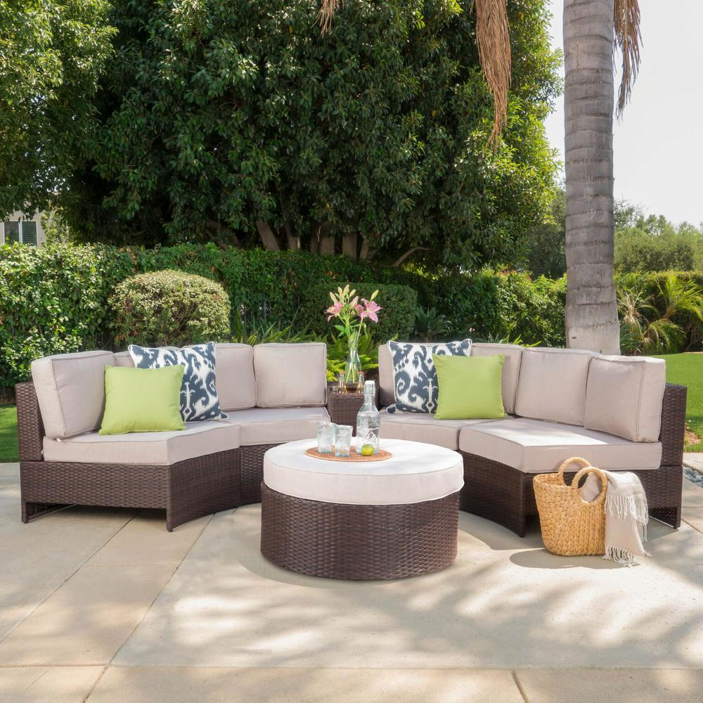 Le House Brown 6 Piece Wicker Outdoor Sectional And Ottoman Set With Textured Beige Cushions