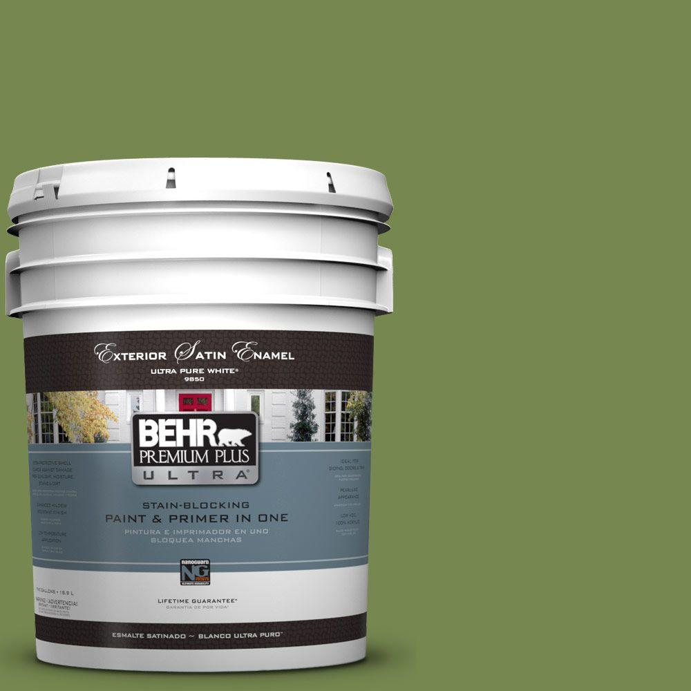 5-gal. #HDC-SM14-2 Green Suede Satin Enamel Exterior Paint