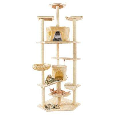 80 in. Solid Beige Cute Sisal Rope Plush Cat Climb Tree Cat Tower Furniture Cover