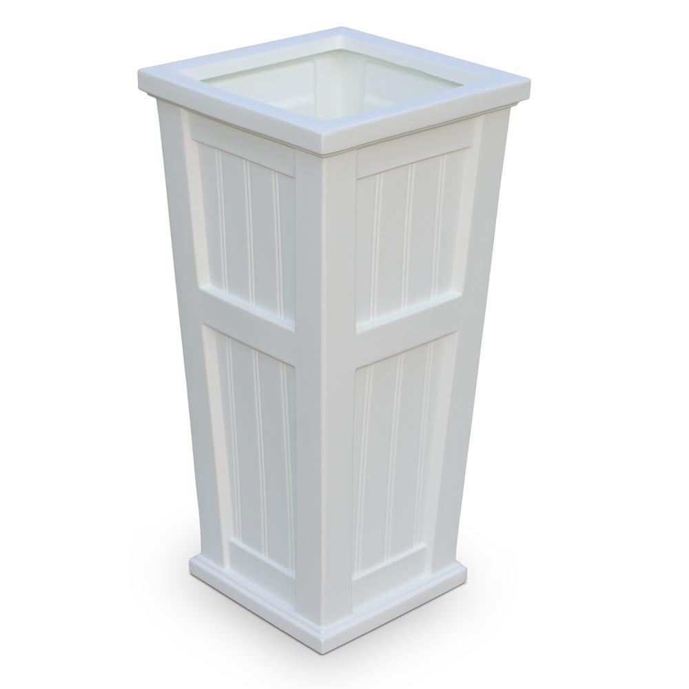Cape Cod 15-1/2 in. Square White Plastic Column Planter