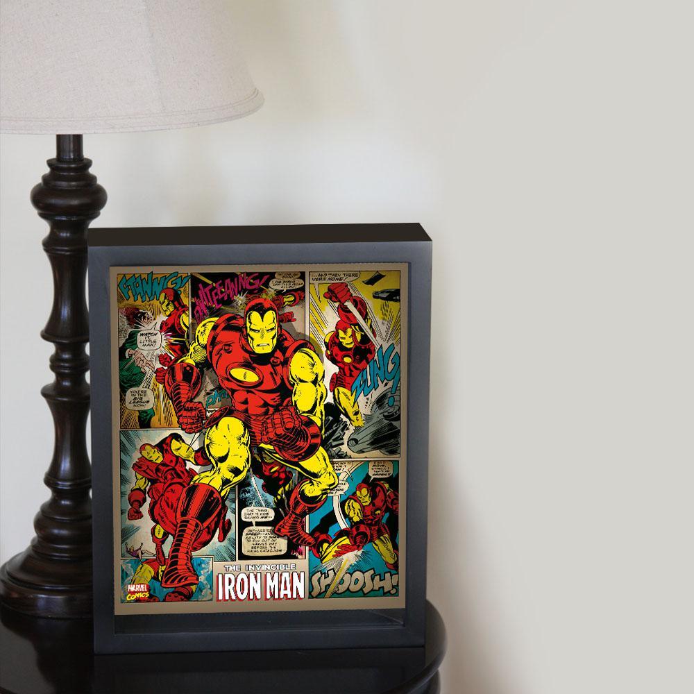 "9 in. x 11 in. ""Iron Man - Panels"" Framed 3D Wall Art"