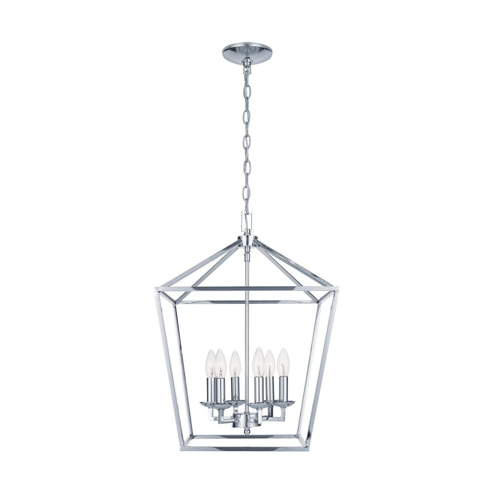 Home Decorators Collection Weyburn 6-Light Polished Chrome Caged Chandelier