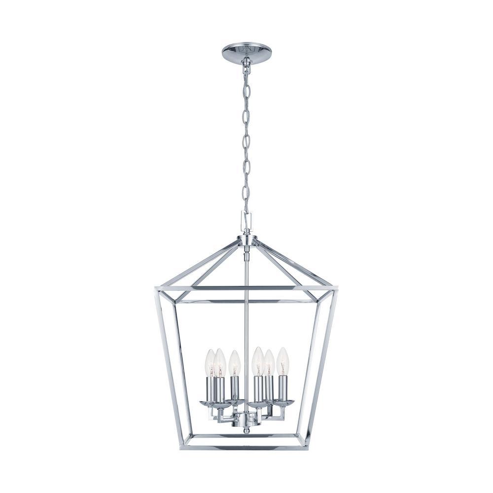 Weyburn 6-Light Polished Chrome Caged Chandelier
