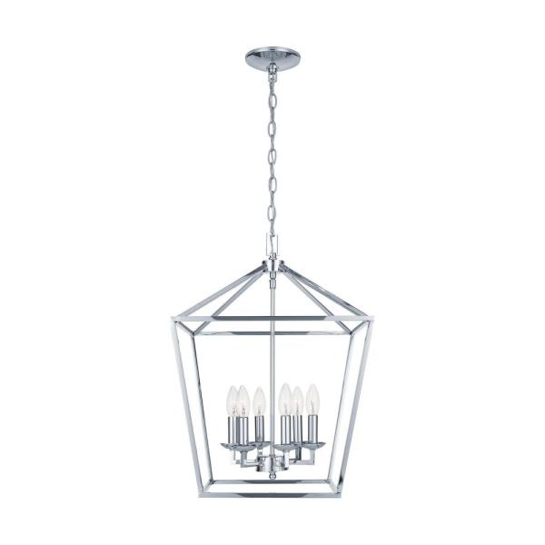 Home Decorators Collection Weyburn 6 Light Polished Chrome Caged Chandelier Cp 66201 The Home Depot