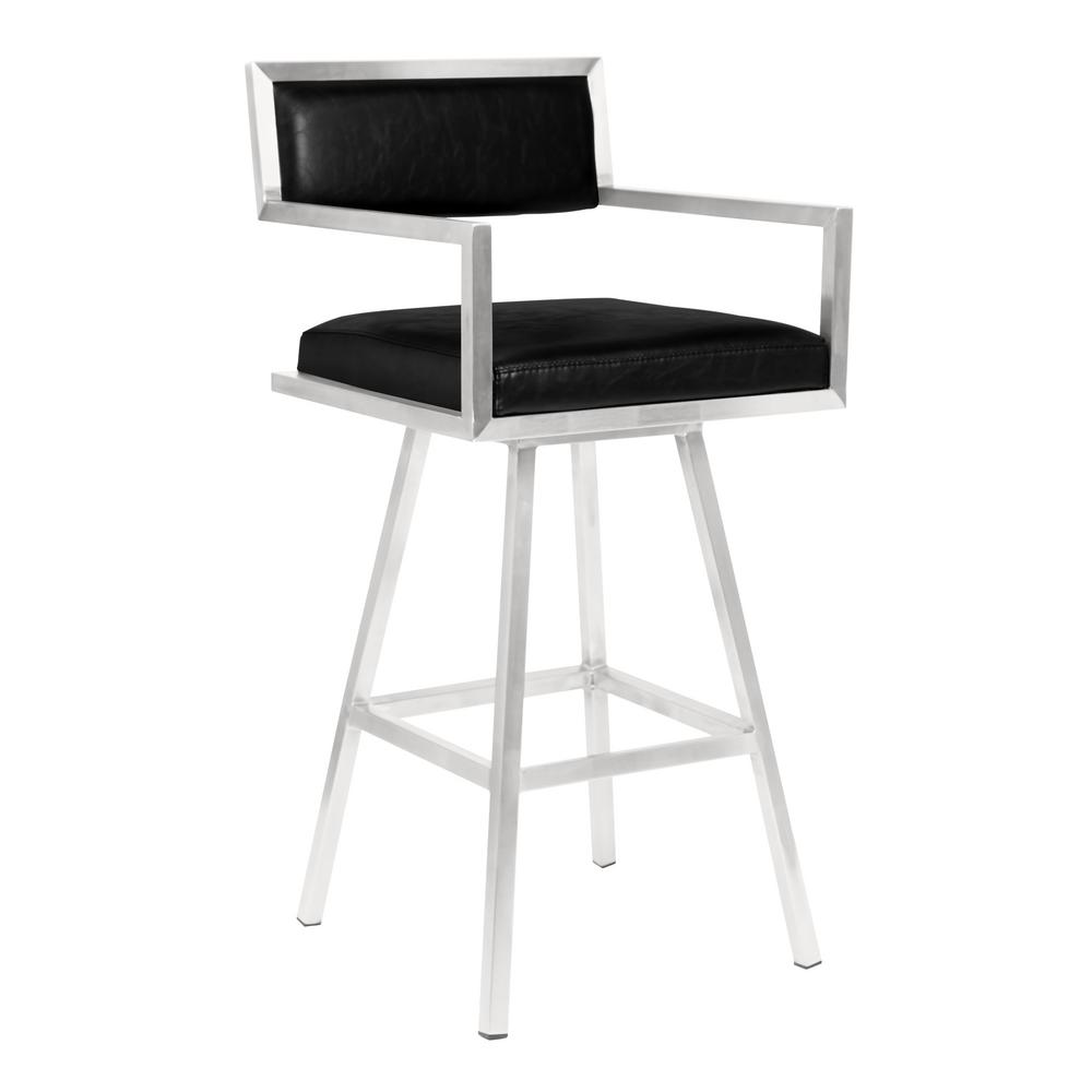 Lennon 30 in. Black Swivel Bar Stool