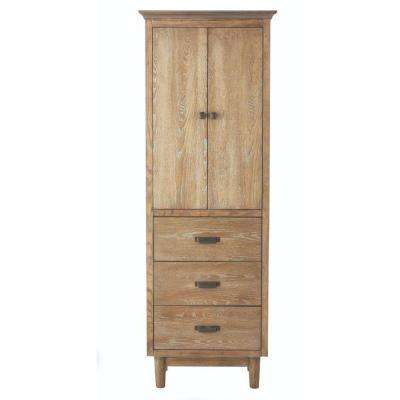 Brisbane 24 in. W x 67-1/2 in. H x 15 in. D Bathroom Linen Storage Cabinet in Weathered Grey Oak