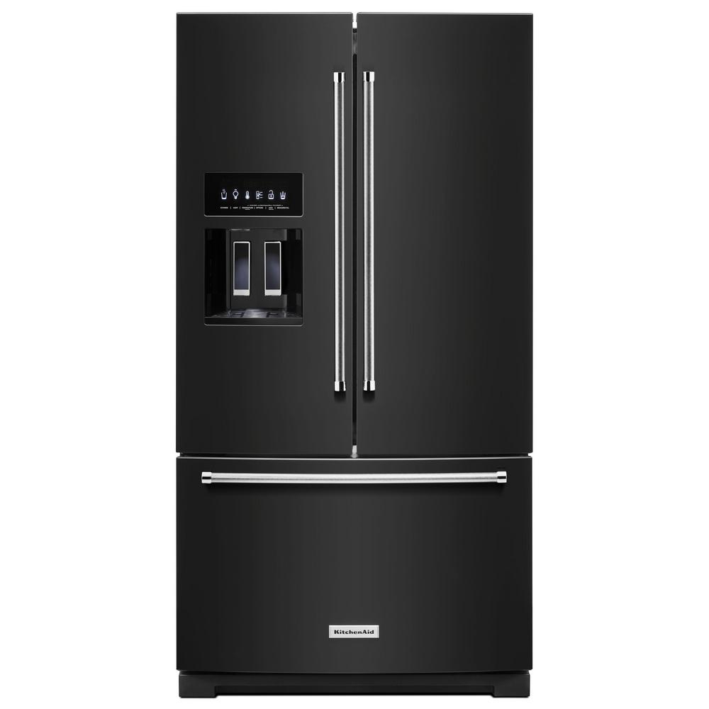 Built In French Door Refrigerator in Black with