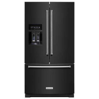 27 cu. ft. Built-In French Door Refrigerator in Black with Exterior Ice and Water