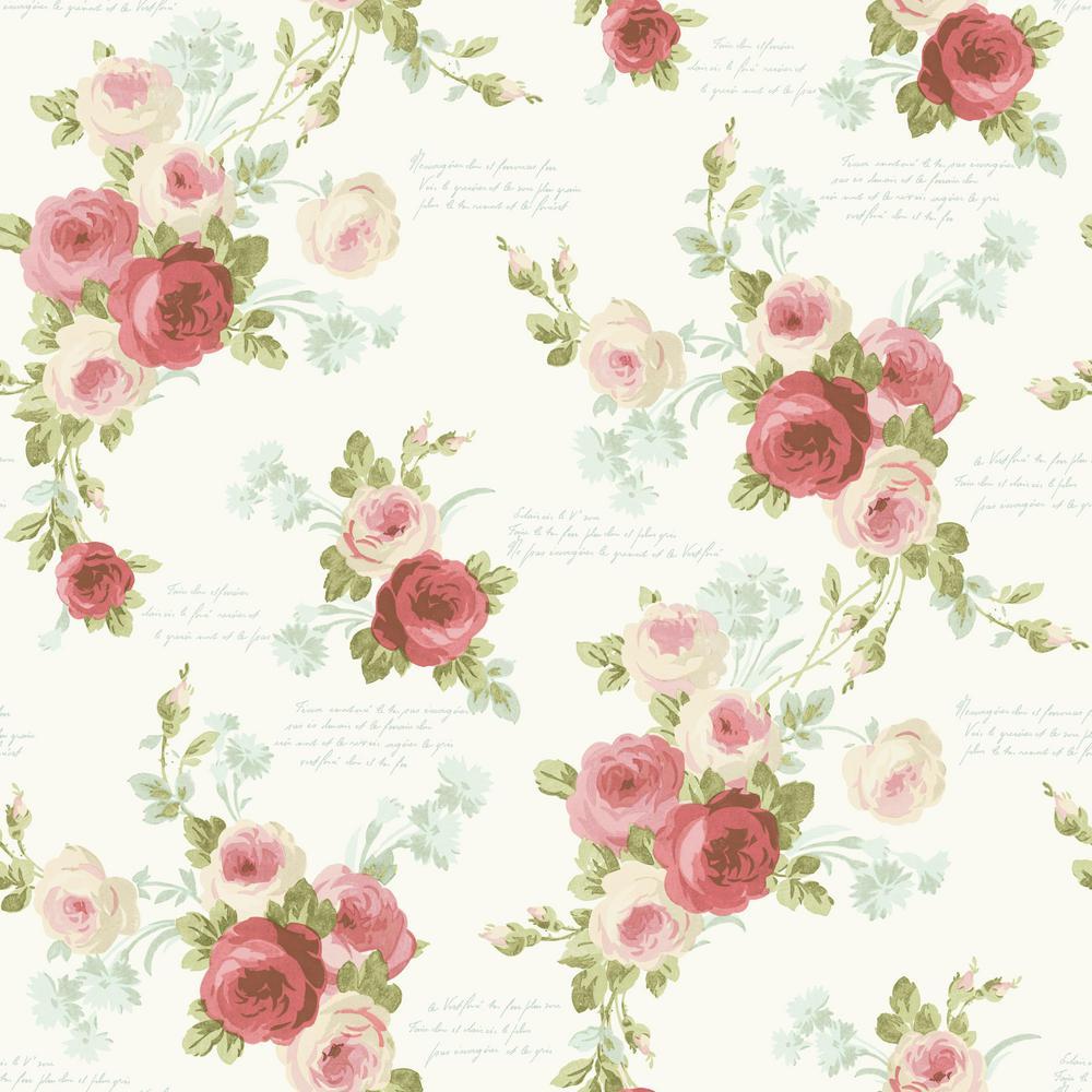 56 sq. ft. Magnolia Home Heirloom Rose Removable Wallpaper