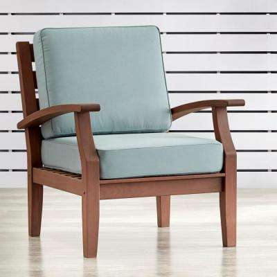 Verdon Gorge Brown Oiled Wood Outdoor Occasional Lounge Chair With Blue  Cushion