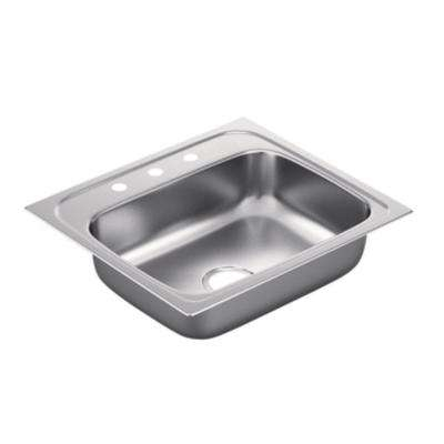 2200 Series Drop-in Stainless Steel 25 in. 3-Hole Single Bowl Kitchen Sink