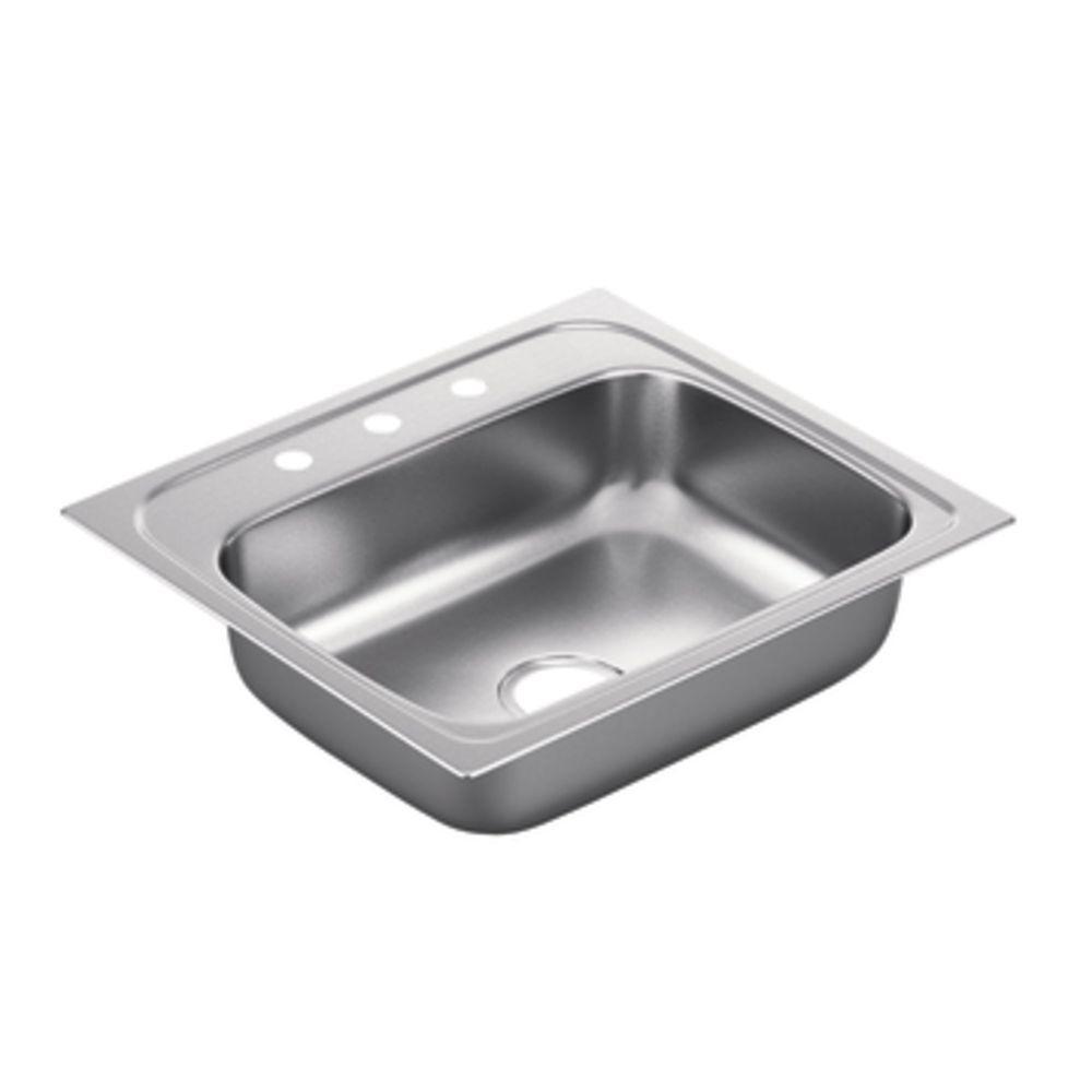 2200 Series Drop-in Stainless Steel 25 in. 3-Hole Single Basin Kitchen Sink