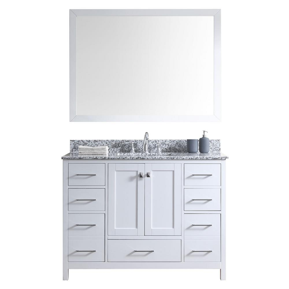 Virtu USA Caroline Madison 49 in. W Bath Vanity in White with Granite Vanity Top in Arctic White with Square Basin and Mirror