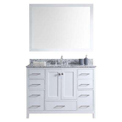 Caroline Madison 48 in. Vanity in White with Granite Vanity Top in Arctic White with White Square Basin and Mirror