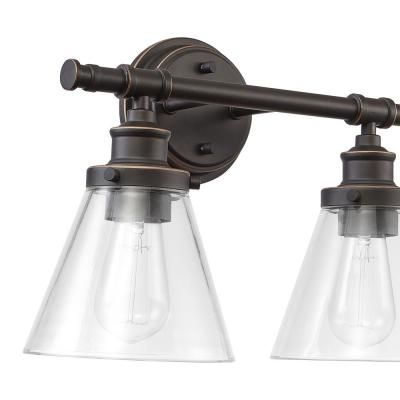 Parker 2-Light Oil Rubbed Bronze Vanity Light with Clear Glass Shades