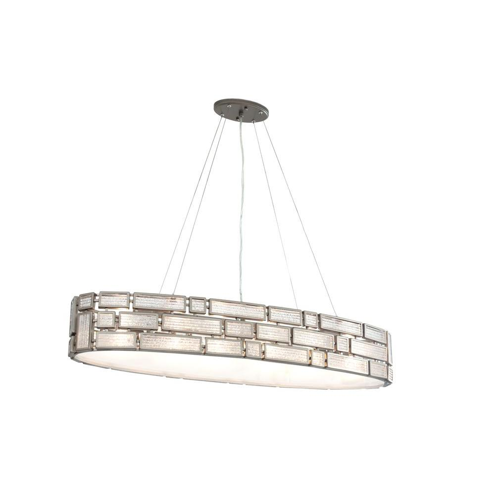 Varaluz Harlowe 4-Light New Bronze Linear Pendant with Textured Ice Glass
