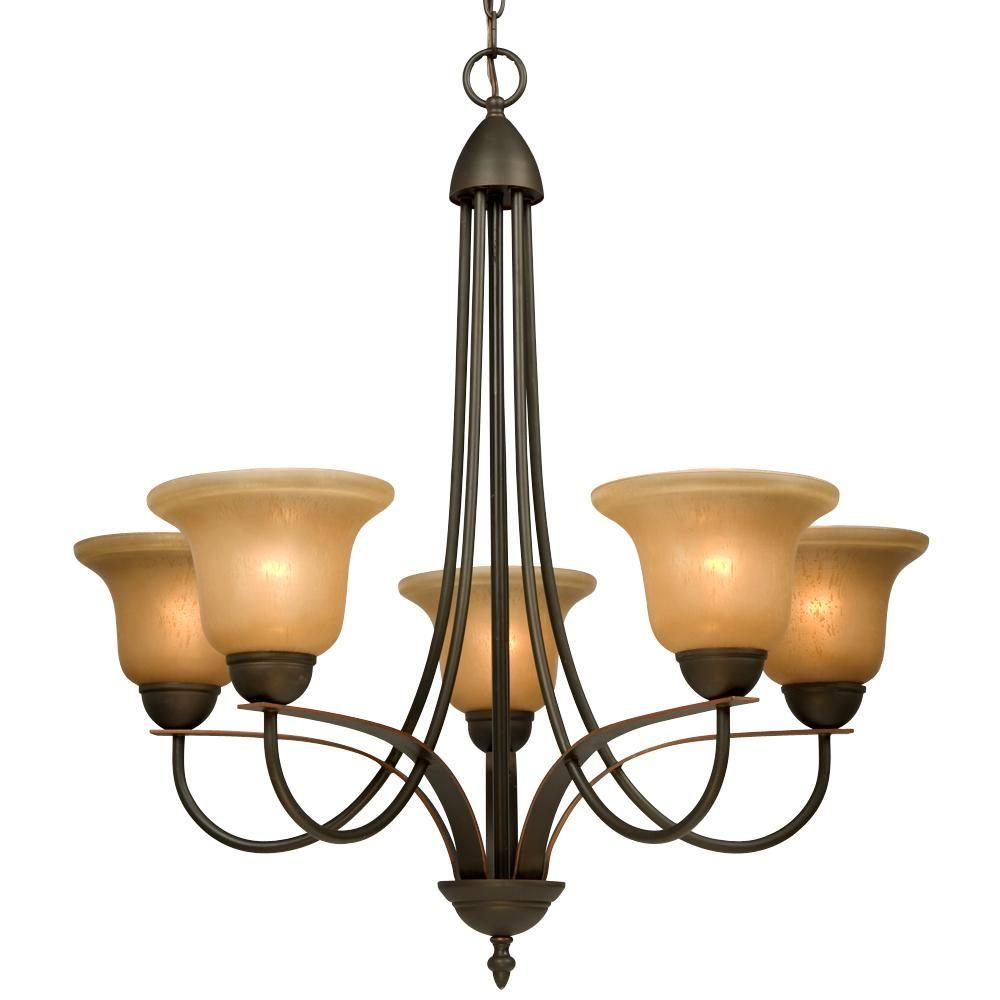 Negron 5-Light Dark Brown Copper Incandescent Chandelier