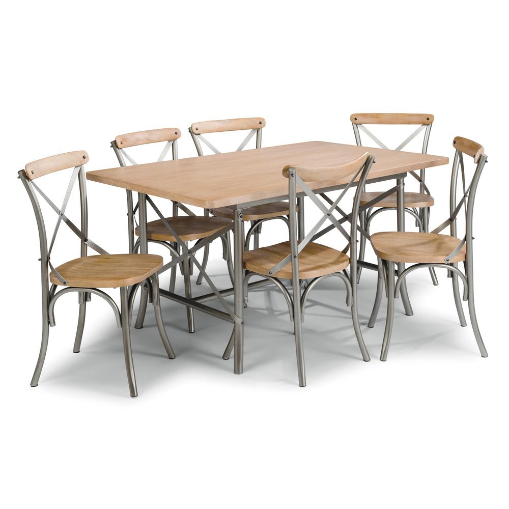 French Quarter 7-Piece Aged White Washed Natural Dining Set
