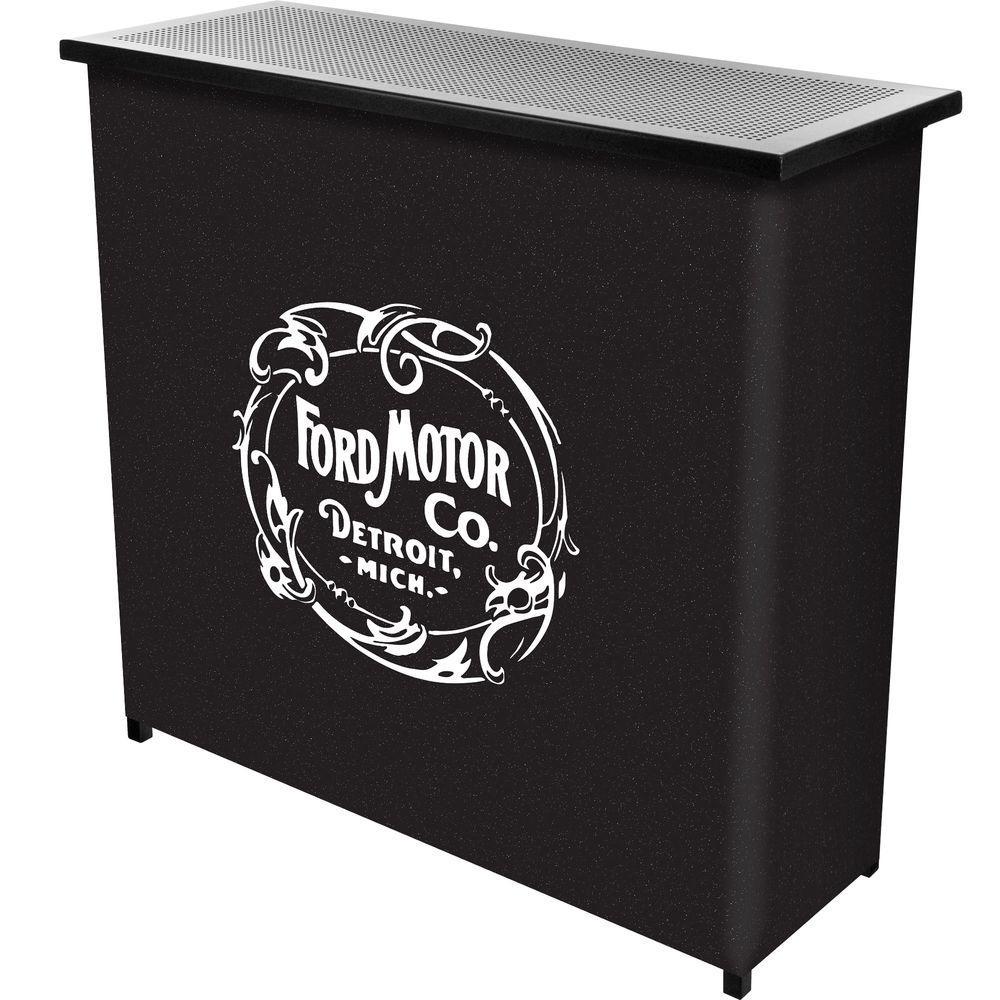 Vintage 1903 Motor Company 2-Shelf Black Bar with Case