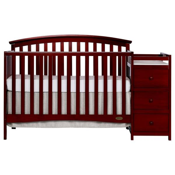 Dream On Me Niko Cherry 5-In-1 Convertible Crib with Changer 656-C