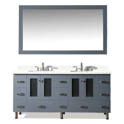 Americano 73 in. Bath Vanity in Grey with Quartz Vanity Top in White with White Basins and Mirror